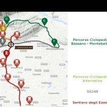Mappa Ciclopedista Bassano/Montebelluna. Connessione con il Sentiero degli Ezzelini.