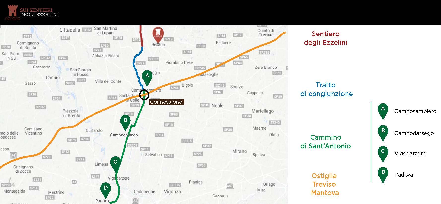 Mappa Ciclopedista Sui sentieri degli Ezzelini. Connessione con l'Ostiglia